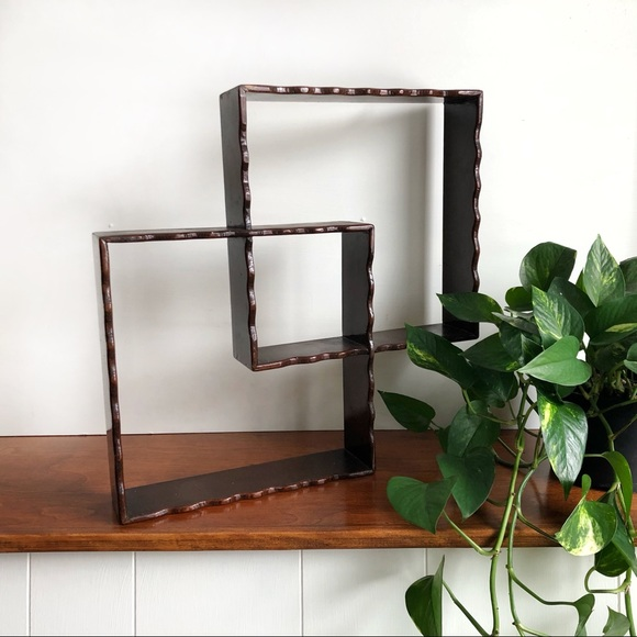 Vintage Wood Shadow Box Interlocking Squares